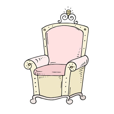Cute cartoon throne for queen or princess with jewel. Doodle pink armchair for fairy tale kingdom. Hand drawn kid vector illustration isolated on white background.