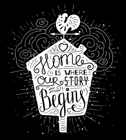 Black and white doodle typography poster with nesting box and vane. Cartoon cute card with lettering - Home is where our story begins. Hand drawn romantic vector illustration isolated on white. Illustration