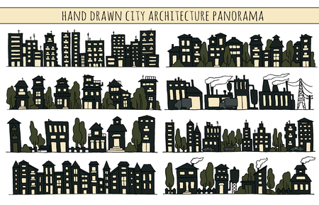 row houses: Sketch big city architecture with night black houses, factory, trees, cars. Panorama set of streets in a row. Hand-drawn vector illustration isolated on white and organized in groups for easy editing.