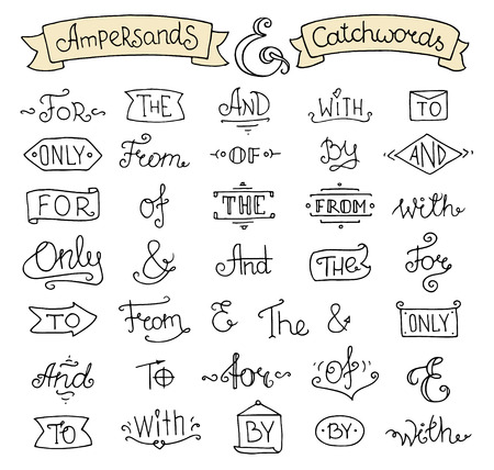 sketched shapes: Doodle calligraphic elegant ampersands and catchwords for romantic design. Hand lettering words - and, with, for, from, the, to, only,of. Hand drawn retro vector illustration isolated on white background. Illustration