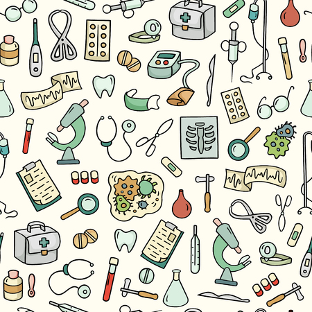 school kit: Cartoon bright seamless pattern with laboratory equipments. Can be used for wallpaper, pattern fills, web page background, surface textures. Hand-drawn medical vector illustration with collection of hospital tools. Illustration