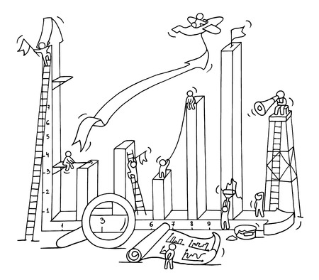 Sketch of graph construction with working little people, loupe, arrow. Doodle cute miniature of building diagram and preparing for the big profit. Hand drawn cartoon vector illustration for business design and infographic. Ilustrace
