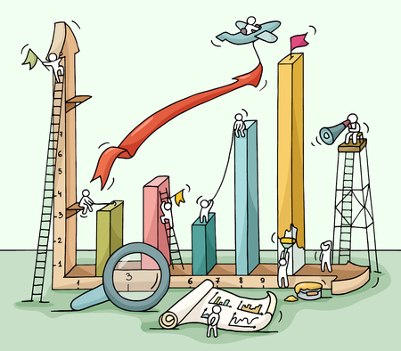 Sketch of graph construction with working little people, loupe, arrow. Doodle cute miniature of building diagram and preparing for the big profit. Hand drawn cartoon vector illustration for business design and infographic. Vettoriali