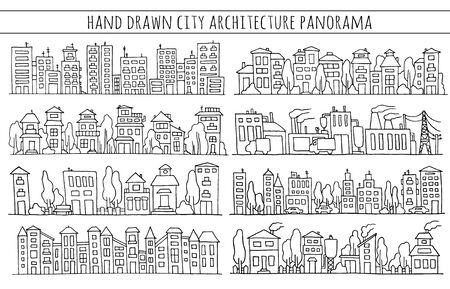 row houses: Scketch big city architecture with houses, factory, trees, cars. Panorama set of streets in a row. Hand-drawn vector illustration isolated on white and organized in groups for easy editing.