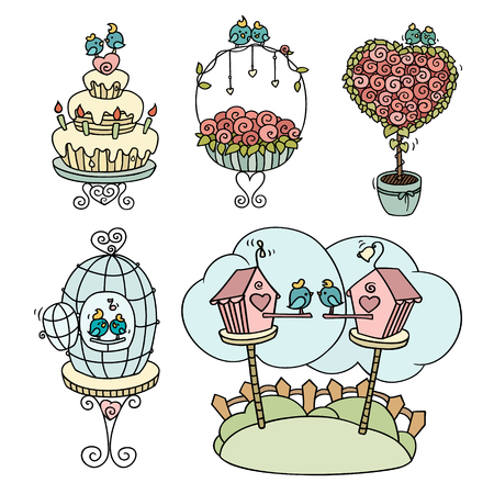 nesting box: ?ute set of cartoon birds sitting on blooming tree, cage, nesting box, cake. Little love birds for Valentine Day. Hand-drawn romantic vector templates isolated on white. Illustration