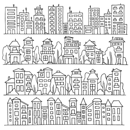 row houses: Scketch big city architecture with houses, skyscrapers, trees. Panorama set of streets in a row. Hand-drawn vector illustration isolated on white and organized in groups for easy editing.