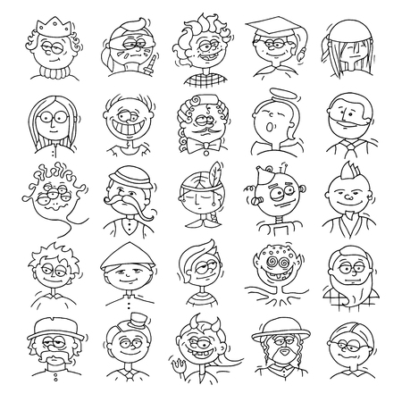 rey caricatura: Cartoon funny user avatars in trendy hand drawn doodle style. Set of men faces with different emotions, professions, hobby. Cute vector illustration isolated on white.
