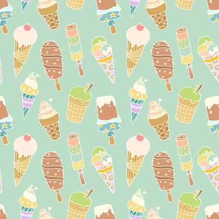 Seamless pattern with cartoon cute  ice-creams. Hand-drawn colored vector with blue backdrop. Use for wallpaper, pattern fills, web page background.