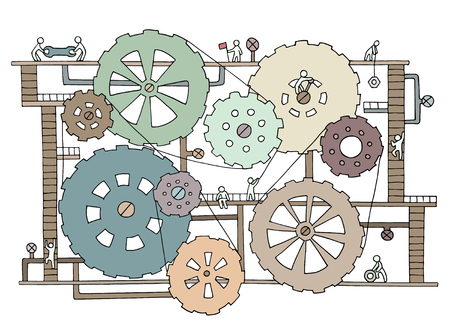 Sketch of people teamwork, gears, production. Doodle cartoon mechanism with machinery and cogwheels. Hand drawn vector illustration for business design isolated on white. Vettoriali