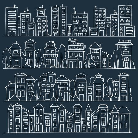 row houses: Scketch big city architecture with houses, skyscrapers, trees. Panorama set of streets in a row. Hand-drawn vector illustration isolated on dark and organized in groups for easy editing.