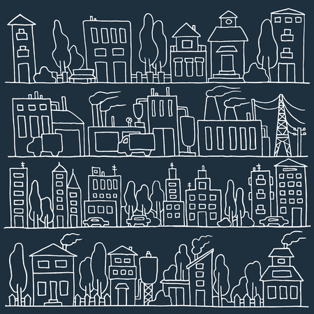 row houses: Scketch big city architecture with houses, factory, trees, cars. Panorama set of streets in a row. Hand-drawn vector illustration isolated on dark and organized in groups for easy editing.