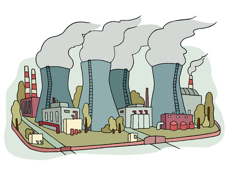 Industrial sketch of nuclear power station. Doodle factory with with smoking plants pipes . Hand drawn colored illustration for business design isolated on white.