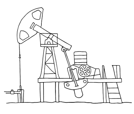 oilfield: Cartoon sketch field  pumpjack. Colored oil well illustration.