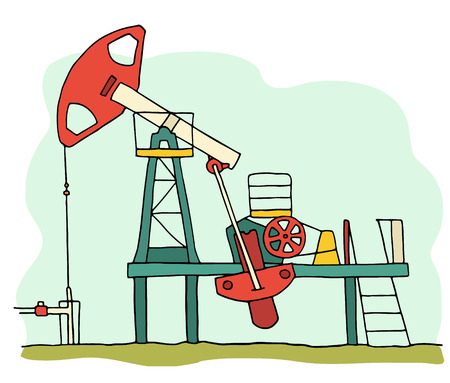 Cartoon sketch field  pumpjack. Colored oil well illustration.  Hand drawn vector with oil equipment isolated on white.