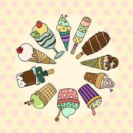 Cute set of colorful tasty cartoon ice cream.