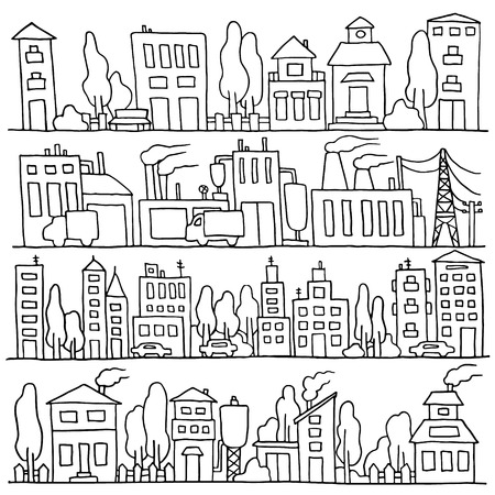 row houses: Scketch big city architecture with houses, factory, trees, cars. Panorama set of streets in a row. Illustration