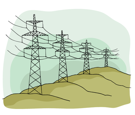 Cartoon power lines delivering energy standing in a row. Illustration