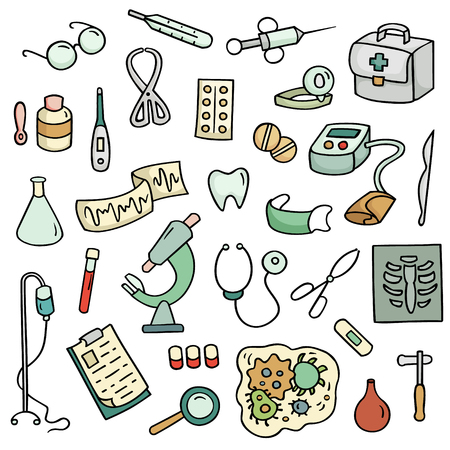 Cute cartoon set of laboratory equipments. Medical collection of hospital tools. Hand-drawn illustration isolated on white. All objects organized in groups for easy editing. Illustration