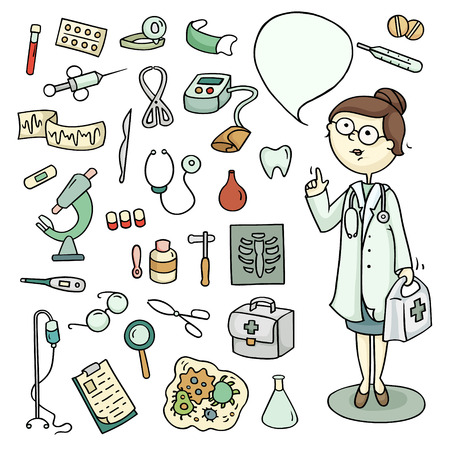Cute cartoon set of doctor and laboratory equipments. Medical collection of hospital tools and character of profession. Hand-drawn illustration isolated on white. All objects organized in groups for easy editing.