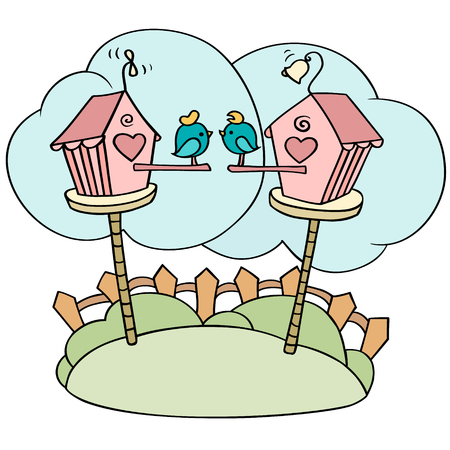 Cute cartoon birds in birdhouses. Little love birds sitting in their nesting boxes. Summer hand-drawn illustration isolated on white.
