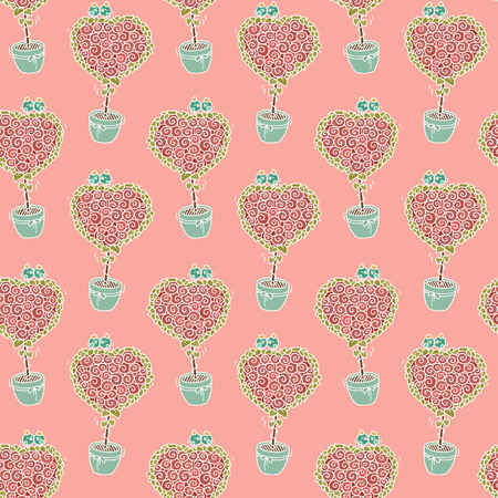 %u0421ute seamless pattern with cartoon birds sitting on blooming tree. Background of  love birds on a heart shaped bouquet of roses. Hand-drawn romantic wallpaper.