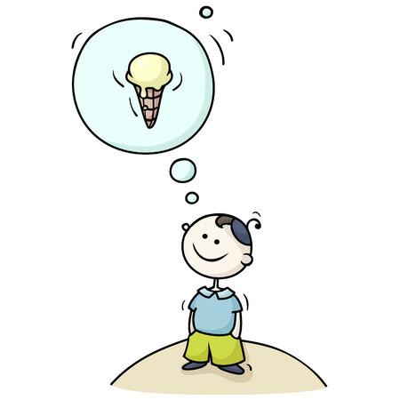 fantasizing: Cartoon boy dreaming with a thought bubble kid fantasizing about ice-cream.