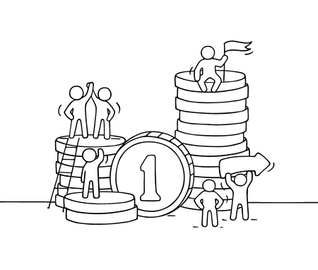 Sketch of working little people with stack of coins. Doodle cute miniature scene of workers. Hand drawn cartoon illustration for business design and finance. Illustration