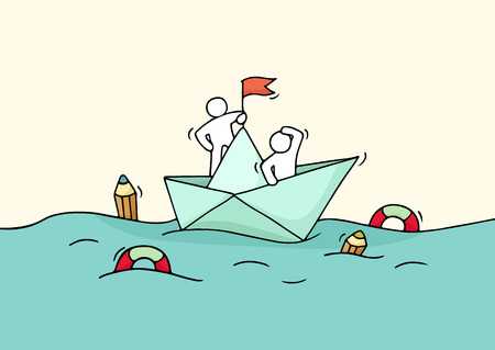 Sketch of working little people with paper boat. Doodle cute miniature scene of workers with discovery concept. Hand drawn cartoon illustration for business design.