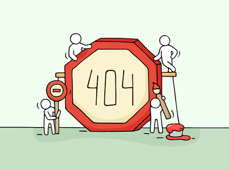 Sketch of working little people with error sign 404. Doodle cute miniature scene of workers with web page symbol. Hand drawn cartoon illustration for internet design.