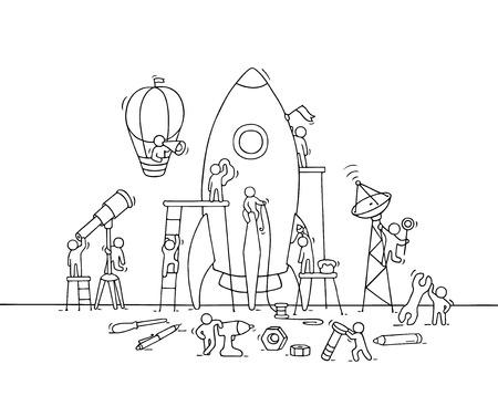 大きなロケットで少し社会人のスケッチ。スタートアップの概念と労働者の落書きかわいいミニチュア シーン。手は、ビジネス デザイン、インフォ