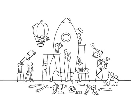 Sketch of working little people with big rocket. Doodle cute miniature scene of workers with startup concept. Hand drawn cartoon illustration for business design and infographic. Иллюстрация
