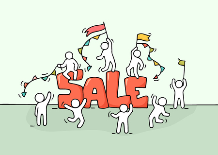 Sketch of working little people with word sale. Doodle cute miniature scene of workers preparing for the shopping. Hand drawn cartoon illustration.