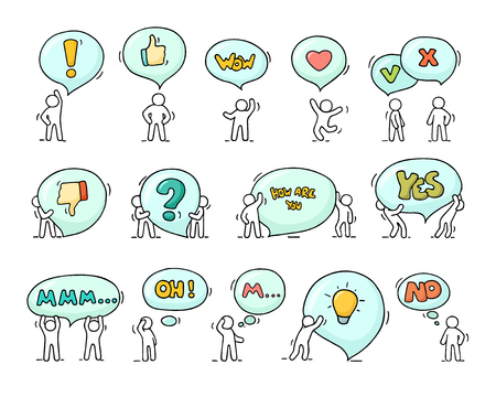 Speech bubbles icons set with little people. Doodle cute miniature scenes of workers with chat clouds. Hand drawn cartoon illustration for social design.