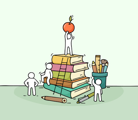 Sketch of stationery with working little people. Doodle cute miniature of stack of books. Hand drawn cartoon illustration for business and education design.