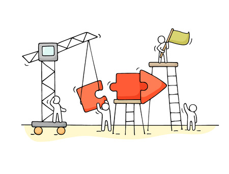 Sketch of working little people with arrow, teamwork. Doodle cute miniature scene of workers collect puzzle pieces. Hand drawn cartoon illustration for business design and infographic.