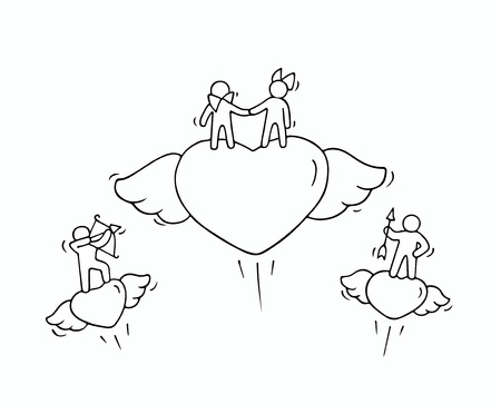 Sketch of flying hearts with cute little people. Doodle cute miniature romantic scene about love. Hand drawn cartoon illustration for valentine day design.