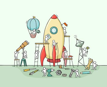 Boceto de pequeños trabajadores con gran cohete. Garabatee la escena miniatura linda de trabajadores con concepto de lanzamiento. Mano dibuja la ilustración de dibujos animados para el diseño de negocios y la infografía.