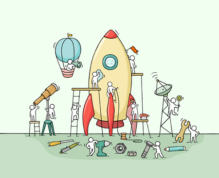 Sketch of working little people with big rocket. Doodle cute miniature scene of workers with startup concept. Hand drawn cartoon illustration for business design and infographic. Illustration