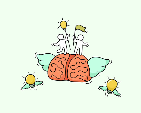 Sketch of flying brain with little workers. Doodle cute miniature about leadership and brainstorming. Hand drawn cartoon vector illustration for business and education design.