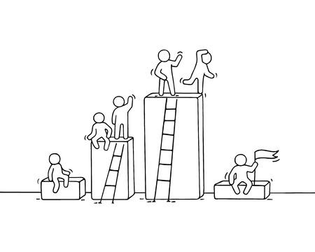 Cartoon diagramm met werkende kleine mensen. Doodle schattig miniatuur teamwork. Hand getekend vectorillustratie voor zakelijke ontwerp en infographic.