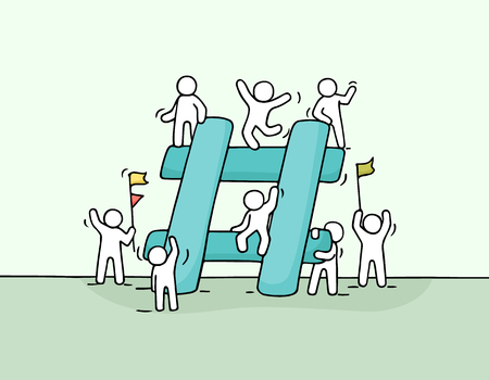 Sketch of  little people with big hashtag. Doodle cute miniature scene of workers about internet symbol. Hand drawn cartoon vector illustration for social media design. Ilustração