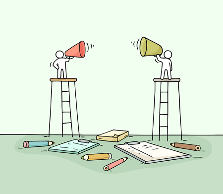 Sketch of two speakers. Doodle cute miniature scene of workers with loudspeakers. Hand drawn cartoon vector illustration for business design.