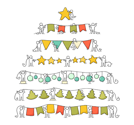 Cartoon christmas garlands set of working little people. Doodle cute miniature scenes of workers with party symbols. Hand drawn vector for christmas and new year celebration.