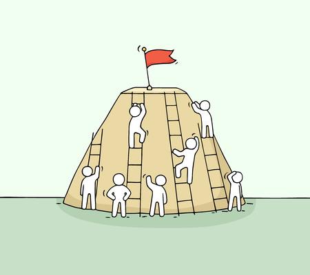 Croquis de l'escalade du petit peuple. Doodle miniature mignonne d'escalier avec drapeau sur le dessus. Illustration vectorielle dessinés à la main de dessin animé pour la conception de l'entreprise. Banque d'images - 74151109
