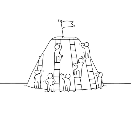Sketch of climbing little people. Doodle cute miniature of stairs with flag on the top. Hand drawn cartoon vector illustration for business design.