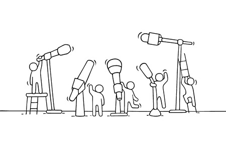 Cartoon working little people with microphones. Doodle cute miniature scene of workers about conference. Hand drawn vector illustration for business and media design.