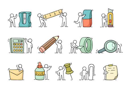 Bürobedarf mit arbeitenden kleinen Leuten. Gekritzel niedliche Miniaturszenen der Arbeiter mit Briefpapier. Hand gezeichnet Cartoon Vektor-Illustration für Business-und Schul-Design. Standard-Bild - 74151128