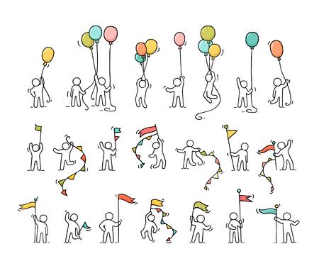漫画のアイコン セットの党記号と小さな人々 をスケッチします。風船、フラグを持つ労働者の落書きかわいいミニチュア シーン。手には、お祝い