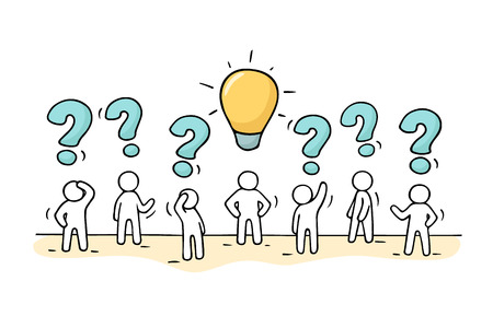 interrogative: Sketch - crowd of working little people with question sings and lamp idea. Doodle cute miniature teamwork find right decision. Hand drawn cartoon vector illustration for business design. Vectores