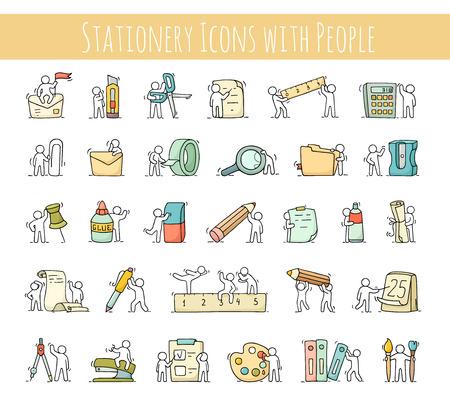 事務用品、少し社会人とセットです。文房具と労働者の落書きかわいいミニチュア シーン。手には、ビジネス、デザイン学校漫画ベクトル図が描か